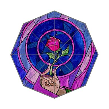 Custom Beauty and the Beast Stained Glass Auto Foldable Umbrella