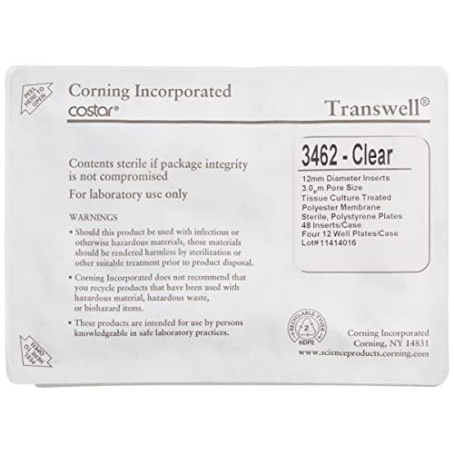Corning Transwell 3462 Polystyrene Membrane Insert, Sterile, Clear, 12mm Membrane Diameter, 3µm Membrane Pore Size (Case of...