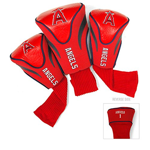 Team Golf MLB Los Angeles Angels Contour Golf Club Headcovers (3 Count), Numbered 1, 3, & X, Fits Oversized Drivers, Utility, Rescue & Fairway Clubs, Velour lined for Extra Club Protection
