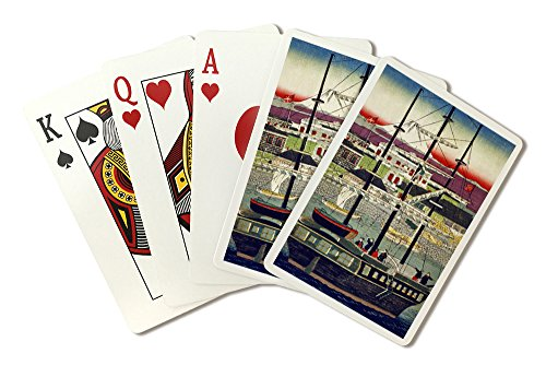 Masted Three Ship (Three Masted Ship in Yokohama Harbor Japanese Wood-Cut Print (Playing Card Deck - 52 Card Poker Size with Jokers))
