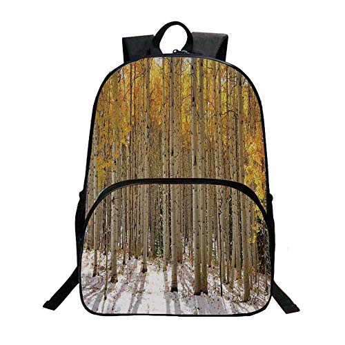 Farm House Decor Fashionable Backpack,Aspen Trees with Golden Leaves in Snow Forest in Early Winter Time Landscape for Boys,11.8