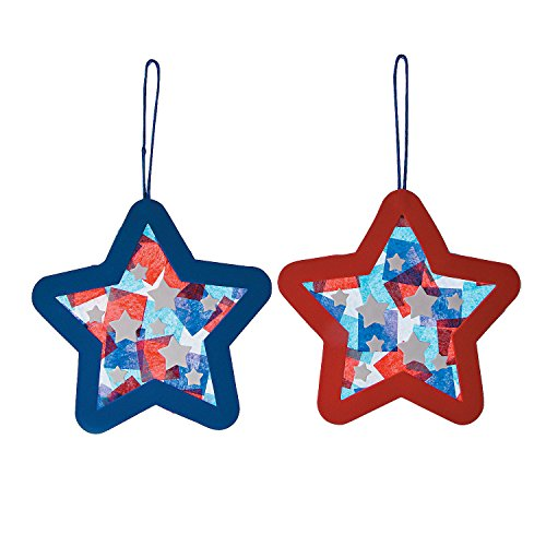 Fun Express - Tissue Acetate Patriotic Star Orna Ck - for Fourth of July - Craft Kits - Hanging Decor Craft Kits - Tissue Paper Crafts - Fourth of July -