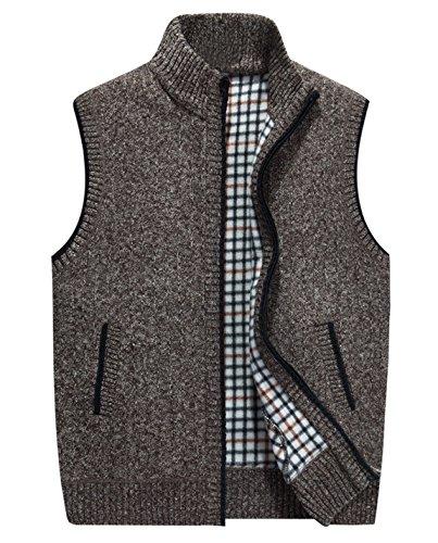 HOWON Men's Stand Collar Loose Zipper Sleeveless Knitted Cardigan Sweater Vest Outwear Jacket Khaki L Collar Slim Zipper Closure