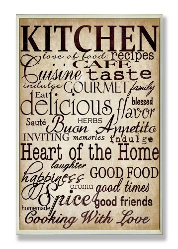 Stupell Home Décor Words In The Kitchen Off White Wall Plaque, 10 x 0.5 x 15, Proudly Made in - Decorative Plaque Kitchen