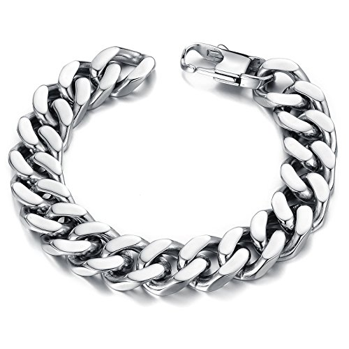 OPK Jewelry Heavy Metal Cuban Curb Link Chain Men's Bracelet Stainless Steel Silver 22cm (Heavy Metal Chain)