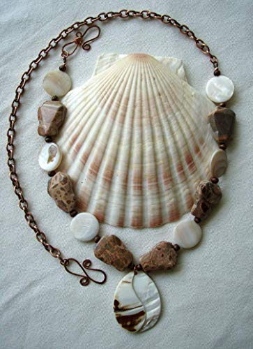 Leopard Skin Jasper Mother of Pearl Shell Necklace Handmade Copper Clasp Natural Stone Jewelry