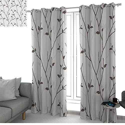 Thermal Insulated Blackout Curtain Leaf,Branches in the Fall Trees Stem Twig with Last Few Leaves Minimalistic Design Art,Pale Grey Brown,Blackout Draperies For Bedroom Living Room 54