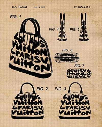 Original Louis Vuitton, YSL, Christian Dior & Valentino Handbags Patent Art Poster Prints- Set of 4 (Four 8x10) Unframed Photos- Great Wall Art Decor Gifts Under $20 for Home, Office, Studio, Designer