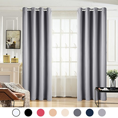Maevis 99% Blackout Curtains 2 Panels for Bedroom Grommet Top,Light Blocking Draperies Room Darkening Thermal Insulated Window Curtain for Living Room(W52xL84 inch,Light Grey) (Grey Curtains Silver)