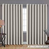 "Premium Blackout Wider Curtains for Patio & Yard (100"" W by 84"" L), Thermal Insulated Room Divider Curtain Panel (Total Privacy, Large Size 7' Tall x 8.5' Wide) - Ivory"