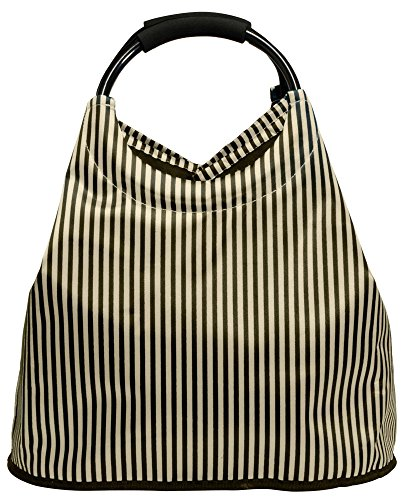 Shoppingtasche, Freizeittasche, Strandtasche, erweiterbar, Farbe champagner im Satinlook, Trendyshop365