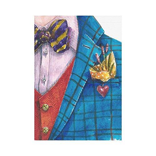 WAZZIT Mr Gentleman Blue Jacket Polyester Garden Flag 28 x 4