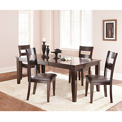 Dining Table Set 5-Piece by Lauren Wells Weston Features Solid Mango and Vinyl Seating, Dark Espresso Finish
