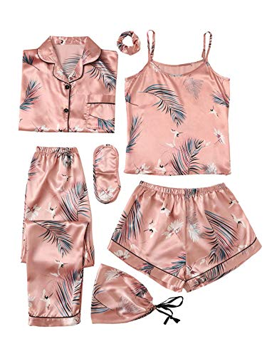 SheIn Women's 7pcs Pajama Set Cami Pjs with Shirt and Eye Mask Large Pink#2