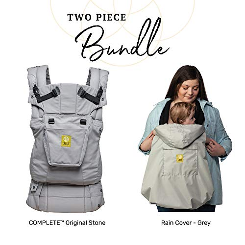 L LL baby Complete Baby Bundle, 2 Items Complete Original 6-in-1 Ergonomic Baby Child Carrier, Stone Rain Cover, Grey