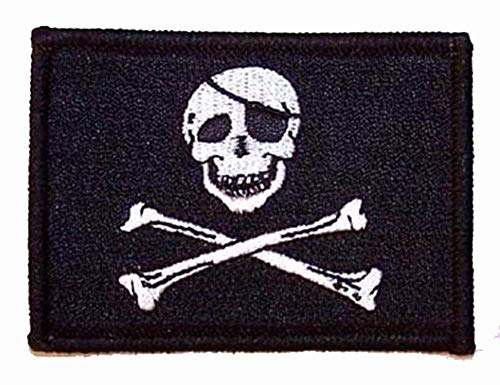 WHOLESALE BULK LOT Skull and Cross Bones Pirate Flag Patch - Novelty Embroidered Biker Jacket Patch - Iron on Backing or Sew -