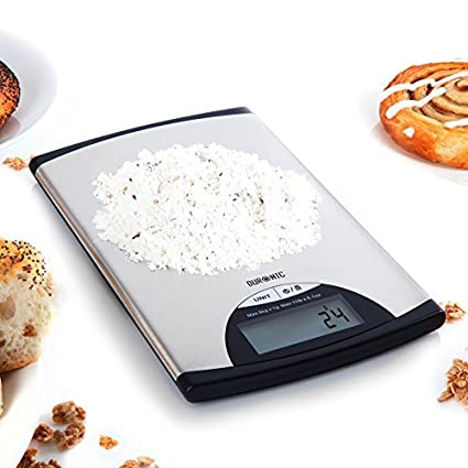 Duronic KS760 Kitchen Scale 5 KG/11 LB Slim Stainless Steel Design Digital Display Electronic
