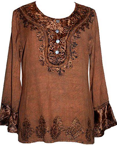Agan Traders 502 B Gypsy Vintage Embroidered Top Blouse (2X, Rust - Embroidered Top Gypsy