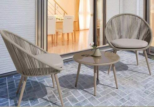 Luca Outdoor- Sunroom Furniture- Out Door Patio Furniture- Gray Resin Rope Metal Frame Three Piece Set - Great for Summer Barbecues, Garden Parties, and Afternoons Spent Lounging