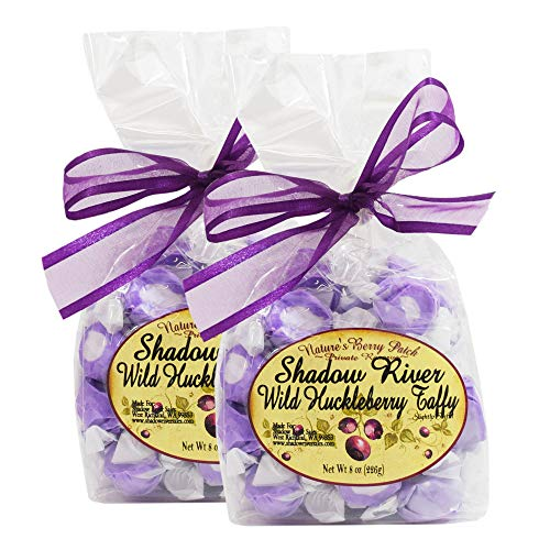 Shadow River Gourmet Wild Huckleberry Saltwater Taffy Classic Purple Candy – 8 oz – Pack of 2