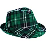 """Toys : St. Patrick's Day Plaid Fedora Hat Costume Party Head Wear Accessory (1 Piece), Green, 5 1/8"""" x 10""""."""