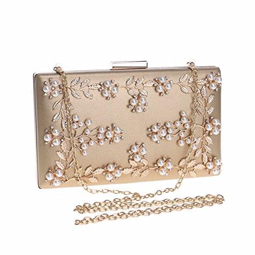 Golden bolsa XJTNLB dama de señora Bolso la la y Blanco europea americana moda de de muñeca banquetes flor bolso 0qUr0zv