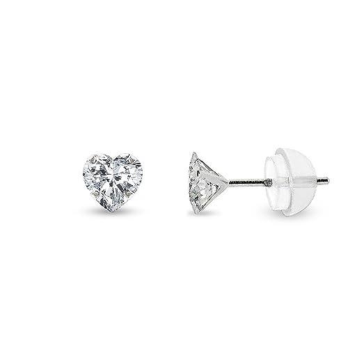 78d43ad5d Amazon.com: 14k White Gold Womens Heart Cubic Zirconia Martini Setting Stud  Earrings 4mm 5mm 6mm (4mm): Jewelry