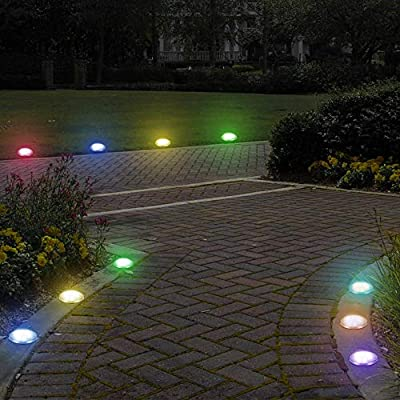 Solar Powered Disk Lights, Ourleeme Solar Ground Lights 8 LED Garden Pathway Outdoor In-Ground Lights, Color Changing Landscape Lighting Waterproof Pathway Lights for Walkway Yard Lawn