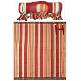 Stripe Fringed Roll-Up Oversized Beach and Picnic Blanket for 2 People with Easy Carry Handle, 100% Cotton, 60 Inch Wide x 60 Inch Long, Red