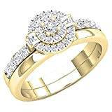 Dazzlingrock Collection 0.45 Carat (ctw) 14K White Diamond Ladies Bridal Engagement Ring Set 1/2 CT, Yellow Gold, Size 4