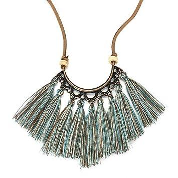 Fashion Boho Tassel Choker Necklace Women Leather Rope Chain Silk Jewelry