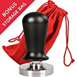 LuxHaus 53mm Calibrated Espresso Tamper - Coffee Tamper with Spring Loaded Flat Stainless Steel Base