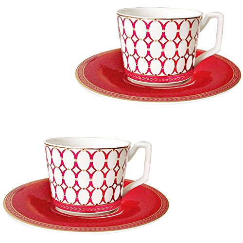 Magicpro Classic Coffee and Tea Birch Teacups and Saucers, red ,Set of ()