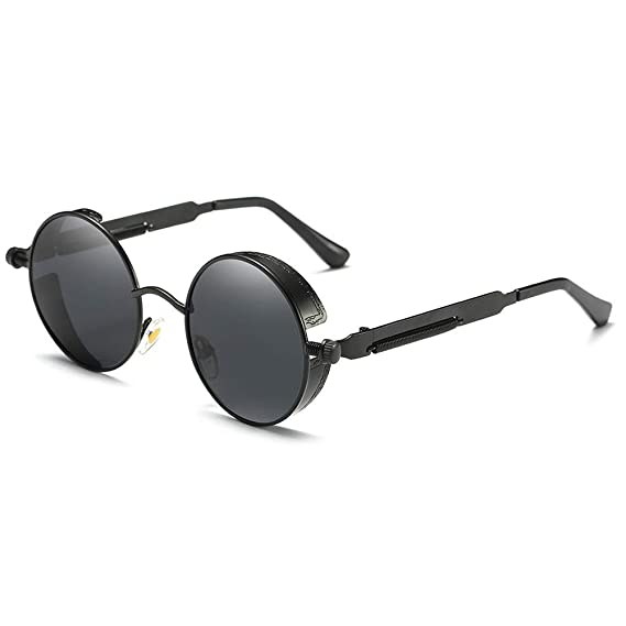 63548c3aa5 Hippie Retro Round Reflective Polarized Sunglasses With Small Metal Frame  47mm for Women Men