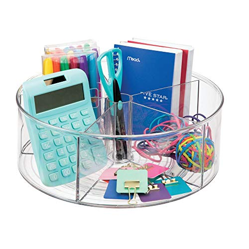 (mDesign Spinning Office Supplies Desk Organizer Bin with Dividers for Scissors, Pens, Sticky Notes, Markers, Highlighters - Clear)