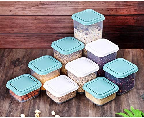 Sealed Food garage Container Set, 6 items plastic garage container set, (1.8L, 1L, 0.7L x 3, 0.3L) kitchen and pantry group, sugar, noodles, snacks, baking, leak evidence…(jewellery blue)