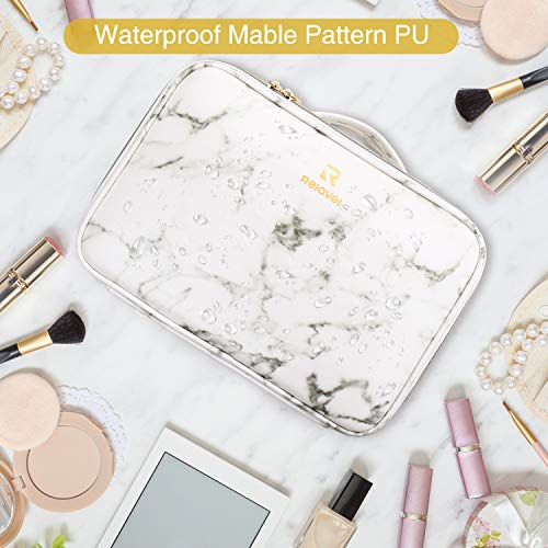 Marble Makeup Bags,Portable Makeup Organizer Bag Travel Case Professional Jewelry Storage Organizer with with Adjustable Dividers for Cosmetics Makeup Brush… (medium)