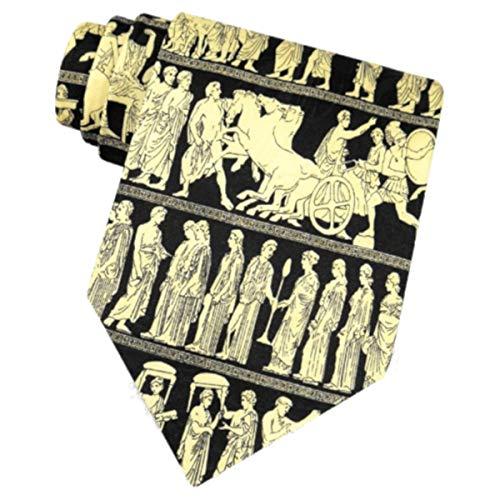 Men's 100% Silk Black Greek Gods Pan Procession Tie Necktie