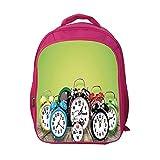 iPrint School Bags Kid's Backpacks Custom,Clock Decor,A Group of Alarm Clocks on The Wooden Ground Digital Print Nostalgic Design,Lime Green,Personalized Customization.