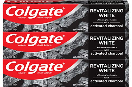 Colgate Activated Charcoal Toothpaste for Whitening Teeth with Fluoride, Natural Mint Flavor, Vegan – 4.6 ounce (3 Pack)