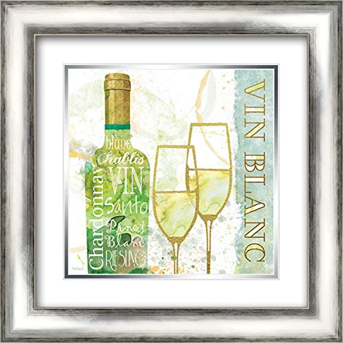 Vin Blanc 20x20 Silver Contemporary Wood Framed and Double Matted Art Print by Robinson, Carol (Vin Blanc)