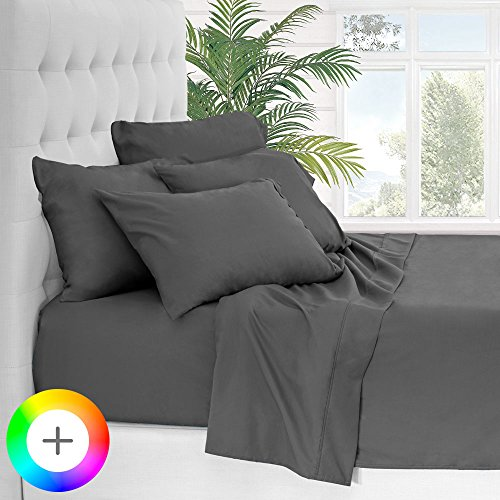 6 Piece 1800 Collection Deep Pocket Bed Sheet Set - Ultra-Soft Hypoallergenic - 2 EXTRA PILLOW CASES (Split Head Flex King, Grey) (Head Split)