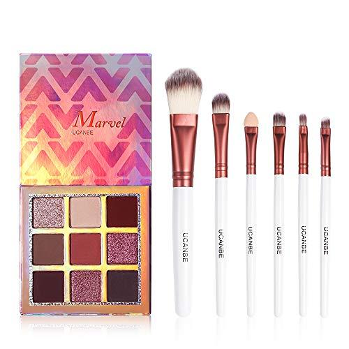 UCANBE 9 Colors Eyeshadow Palette + 6pcs Pro Makeup Brushes Set Highly Pigmented Matte Shimmer Blending Eye Shadows Powder Pallet Kit (Glitter Basic)