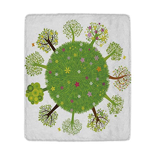 YOLIYANA Earth Warm Blanket,Various Green Trees Around The World in Full Blossom Spring Season Eco Planet Flowers for Beds,49'' W x 59'' H