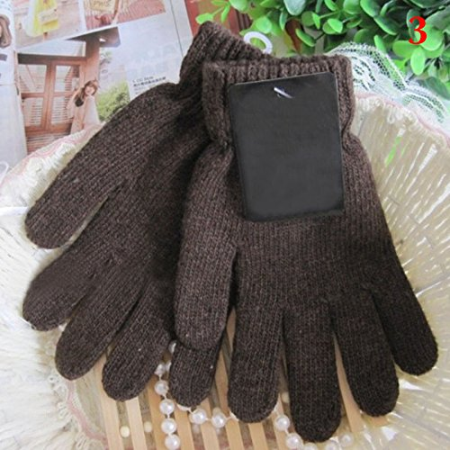 coffee OLIVE US-Unisex Gloves Knitted Solid Warm Winter Gloves Thermal Insulation Men Women