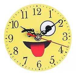 certainPL Wall Clock, DIY Emoji Emoticon, Non-Ticking & Silent Decorative Kitchen, Living Room, Kids Room, AA Battery Operated Clocks (C)