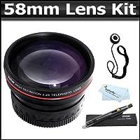 58mm 2x Telephoto HD Zoom Lens + Lens Pen Kit + More For Canon EOS Rebel XT XTI XSI T1I T2i T3i T3 20D 5D 300D 350D 450D 400D 10D T2 T1 40D 50D 60D 1000D 550D That Use Canon Lenses (18-55mm, 75-300mm, 50mm 1.4, 55-200mm)