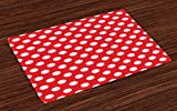 Ambesonne Retro Place Mats Set of 4, 50s 60s Iconic Pop Art Style Big White Polka Dots Picnic Vintage Old Theme Image, Washable Fabric Placemats for Dining Room Kitchen Table Decor, Vermilion White