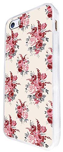 311 - Floral Shabby Chic Roses Fleurs Design iphone SE - 2016 Coque Fashion Trend Case Coque Protection Cover plastique et métal - Blanc