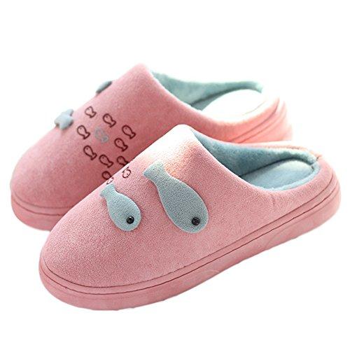 Ciondolo Bel Cartone Animato Piccolo Pesce A Mano Pantofola Di Cotone Coperta Antiscivolo Rosa Scuro